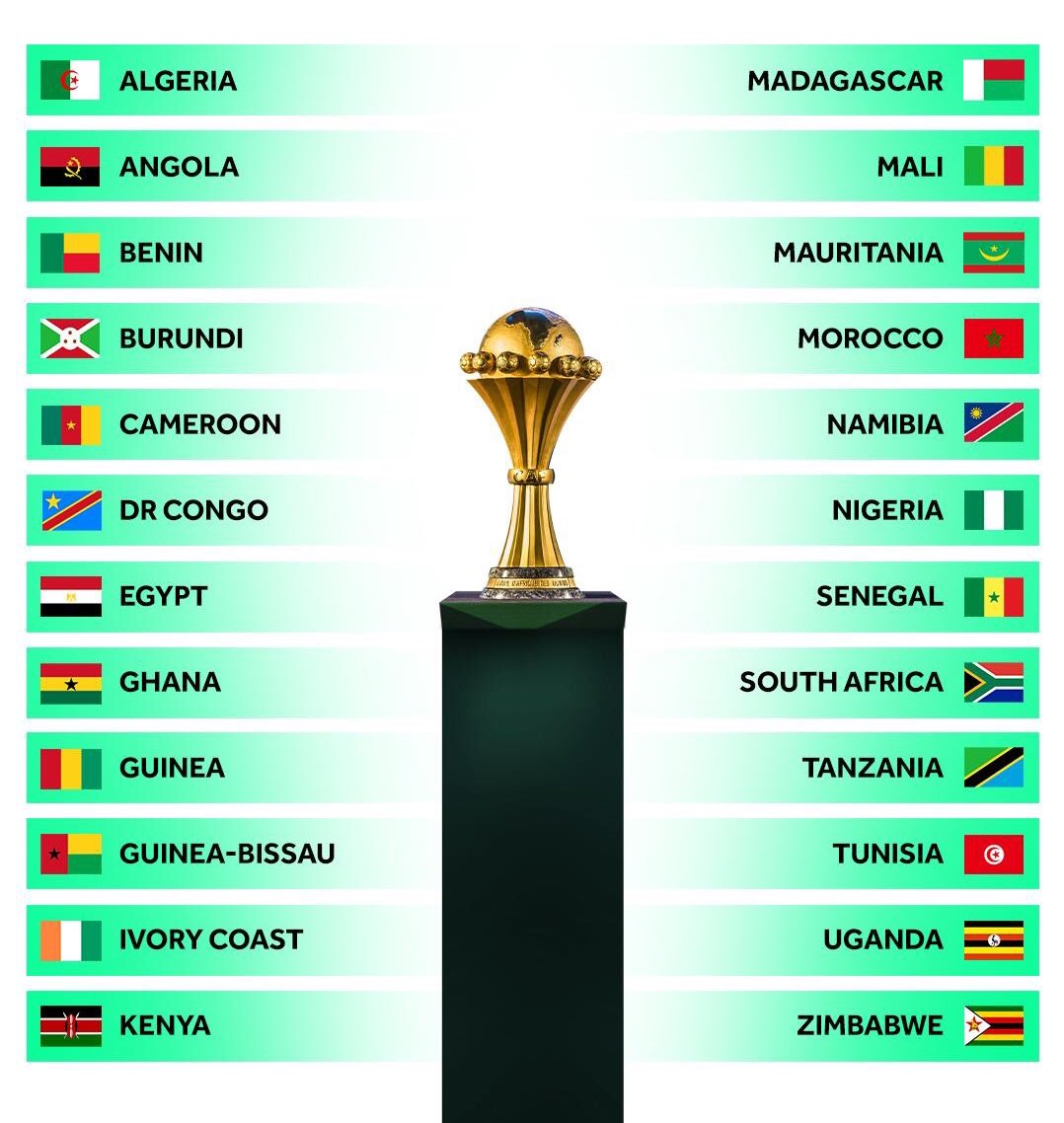 Qualified teams for 2019 African Cup of Nations